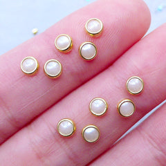 Tiny Round Pearl Gems with Gold Accent Rims | Nail Charms | Nail Art Studs | Wedding Nail Designs | Mini Embellishment Supplies (50pcs / Cream White / 4mm)