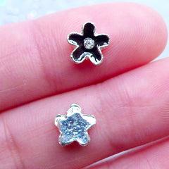 Black Flower Nail Charms with Rhinestones | Flower Floating Charm | Floral Nail Art | Nail Designs | UV Resin Art | Embellishments (2pcs / Black / 8mm x 7mm)