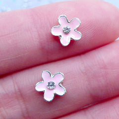 Pink Flower Floating Charms with Rhinestones | Floral Nail Art Charm | Flower Nail Designs | Nail Deco | UV Resin Craft | Memory Locket Making (2pcs / Pink / 8mm x 7mm)