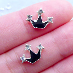 Crown Nail Charms with Rhinestones | Bling Floating Charm | Princess Nail Art | Kawaii Nail Decoration | Nail Design | UV Resin Crafts | Memory Locket Charm Supplies (2pcs / Black / 11mm x 9mm)
