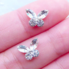 Butterfly Nail Charms | Rhinestone Floating Charm | Wedding Nail Art | Bling Bling Nail Designs | Nail Deco | UV Resin Art | Tiny Mini Embellishments (2pcs / Clear / 10mm x 7mm)