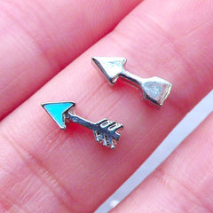 Arrow Floating Charms | Memory Lockets | Living Locket Supplies | Nail Art Charm | UV Resin Craft | Resin Shaker Charm Making (2pcs / Blue / 4mm x 10mm)