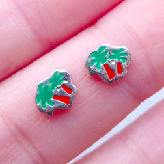 Palm Tree Floating Charms | Memory Locket Supplies | Living Lockets | Nail Charms for Nail Designs | UV Resin Art | Resin Shaker Charm DIY (2pcs / 7mm x 6mm)