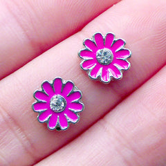 Chrysanthemum Floating Charms with Rhinestone for Living Locket | Floral Memory Lockets | Shaker Charm | Coneflower Nail Charms for Nail Deco | UV Resin Art (2pcs / Pink / 8mm)