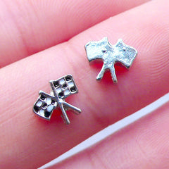 Auto Racing Flag Floating Charms | Chequered Flag Nail Charm | Checkered Flag Embellishment | Glass Memory Lockets | Formula One Living Locket | Shaker Charm Making (2pcs / 8mm x 6mm)