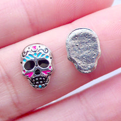 Sugar Skull Floating Charms | Day of the Dead Memory Locket Making | Mexican Halloween Living Lockets | Shaker Charm | Small Embellishment (2pcs / 8mm x 10mm)