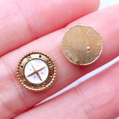 Compass Floating Charms | Nautical Floating Locket Making | Glass Living Memory Lockets | Shaker Charm Supplies | Mini Embellishment | UV Resin Findings (2pcs / 11mm)