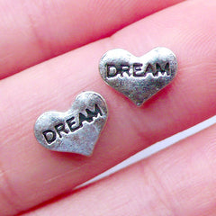 Dream Heart Floating Charms | Memory Lockets | Glass Living Locket Findings | Shaker Charm Making | Metal Embellishments (2pcs / 9mm x 7mm)