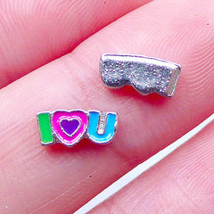 I Love You Enamel Floating Charms | Valentine's Day Shaker Charm | Glass Memory Living Lockets | Tiny Metal Embellishments | Wedding Supplies (2pcs / 8mm x 4mm)