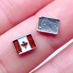 Canadian Flag Floating Charms | Flag of Canada | Glass Living Memory Locket Supplies | Small Metal Embellishments | Nail Designs (2pcs / 7mm x 5mm)