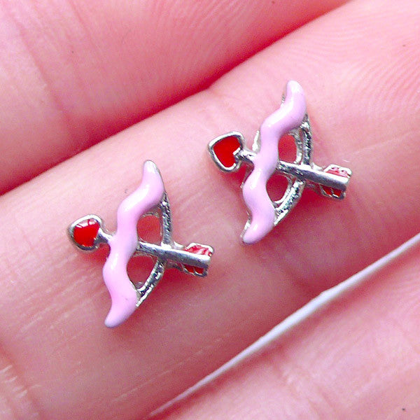 Cupid's Arrow and Bow Floating Charms | Love Embellishment | DIY Living Locket for Valentine's Day | Glass Memory Lockets | Wedding Supplies (2pcs / 10mm x 8mm)