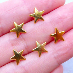 Mini Gold Star Charm for UV Resin Crafts | Tiny Metal Embellishments | Kawaii Cabochons for Resin Filling (5pcs / Gold / 8mm x 8mm)