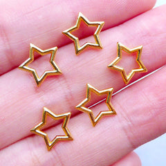 Gold Star Frame Charm for UV Resin Craft | Mini Open Bezel | Tiny Metal Cabochons | Kawaii Embellishment for Resin Filling (5pcs / Gold / 10mm x 9mm)