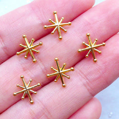 North Star Charms for Kawaii Open Bezel Jewelry | Mini Metal Embellishments for UV Resin Filling | Tiny Cabochons | Floating Charm Supplies (5pcs / Gold / 10mm x 11mm / 2 Sided)