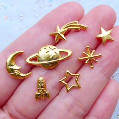 Small Astronomy Embellishments for UV Resin Crafts | Mini Matel Cabochons | Kawaii Jewelry Supplies (7pcs / Space Shuttle Planet Saturn North Star Moon Shooting Falling Star / Gold)
