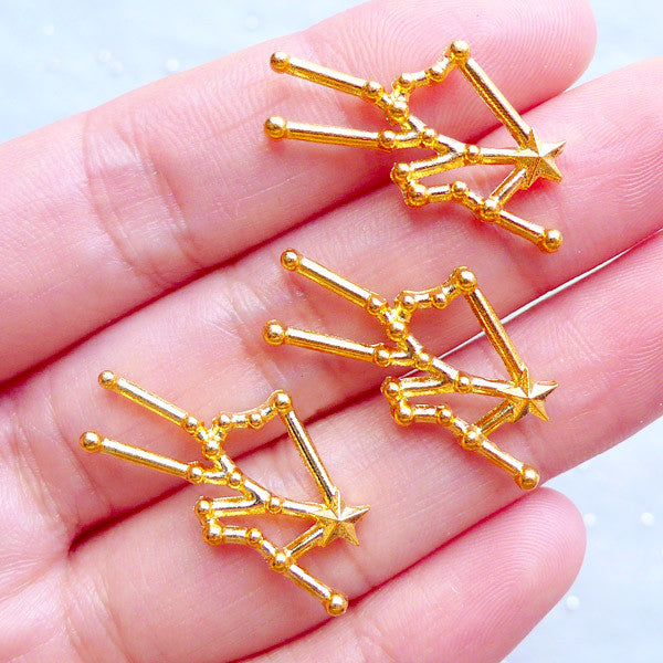 Taurus Star Map Charms | Astrology Constellation Charm | Astronomy Zodiac Sign Jewellery | Horoscope Charm | UV Resin Filling Material (3pcs / Gold / 27mm x 13mm)