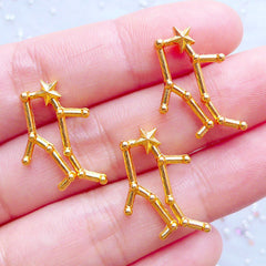 Gemini Zodiac Sign Charms | Astrology Star Map Charm | Astronomy Constellation Jewellery | Horoscope Filling Materials | UV Resin Crafts (3pcs / Gold / 15mm x 23mm)
