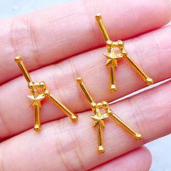 Cancer Astrology Sign Charms | Zodiac Star Map Charm | Horoscope Constellation Jewelry | Astronomy Filling Materials | UV Resin Craft (3pcs / Gold / 11mm x 22mm)