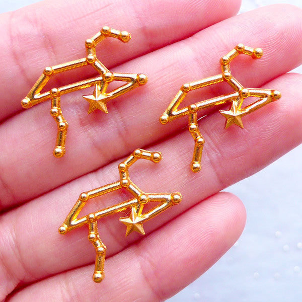 Leo Astronomy Sign Charms | Horoscope Star Map Charm | Constellation Zodiac Jewelry | Astrology Filling Materials | UV Resin Art (3pcs / Gold / 22mm x 18mm)