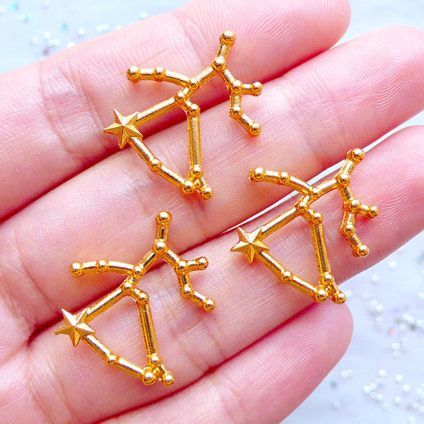 Horoscope Constellation Charms | Sagittarius Star Map Charm | Cosmos Filling Materials | Astrology Zodiac Charm | Astronomy Charm | UV Resin Galaxy Jewelry DIY (3pcs / Gold / 20mm x 19mm)