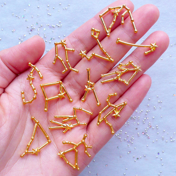 Constellation Charms | UV Resin Filling Materials | Star Map Charm | Astronomy Cosmos Charm | Horoscope Charm | Astrology Zodiac Jewelry | Kawaii Craft Supplies (Set of 12 pcs / Gold)