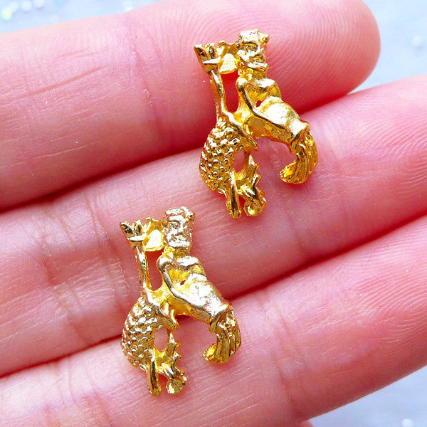 Aquarius Charms | Horoscope Sign Charm | Astrology Zodiac Jewelry | Filling Materials | Kawaii UV Resin Craft (2pcs / Gold / 11mm x 16mm)