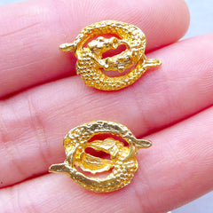 Pisces Charms | Zodiac Sign Charm | Astrology Jewelry | Horoscope Filling Materials | Kawaii UV Resin Crafts (2pcs / Gold / 17mm x 11mm)
