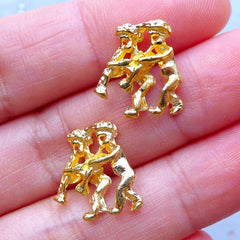 Gemini Charms | Zodiac Sign Charm | Horoscope Jewellery | Astrology Charm | UV Resin Filling Materials | Kawaii Craft Supplies (2pcs / Gold / 13mm x 14mm)