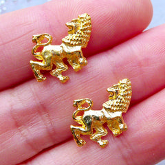 Leo Charms | Kawaii UV Resin Crafts | Horoscope Filling Materials | Zodiac Sign Charm | Astrology Jewelry (2pcs / Gold / 12mm x 14mm)