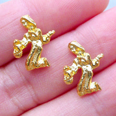 Virgo Charms | UV Resin Craft Supplies | Zodiac Sign Filling Materials | Astrology Charm | Horoscope Jewelry (2pcs / Gold / 12mm x 14mm)