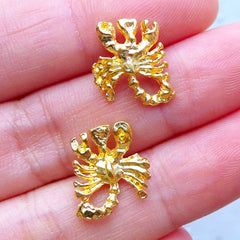 Scorpio Zodiac Sign Charms | Astrology Charm | UV Resin Filling Materials | Horoscope Jewelry (2pcs / Gold / 12mm x 13mm)