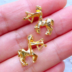 Sagittarius Sign Charms | Zodiac Charm | UV Resin Filling Materials | Astrology Jewelry | Horoscope Embellishments (2pcs / Gold / 17mm x 15mm)
