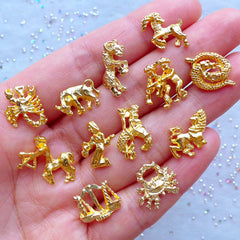 Zodiac Sign Charms | Horoscope Embellishments | Kawaii UV Resin Filling Materials | Astrology Jewelry (Set of 12pcs / Gold)