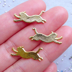 Lazy Cat Charms | Cute Kitty Charm | Kawaii Animal Filling Materials for Resin Crafts | UV Resin Supplies (3pcs / Gold / 20mm x 8mm)