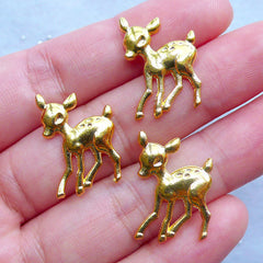 White Tailed Deer Charms | Sika Deer Charm | Cute Animal Filling Materials for UV Resin Crafts | Kawaii Supplies (3pcs / Gold / 14mm x 21mm)