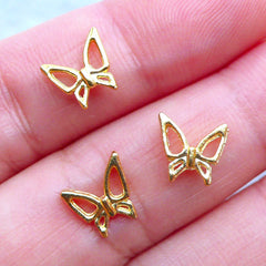 Tiny Mini Butterfly Charms | Insect Nail Cabochon | Filling Materials for Kawaii UV Resin Supplies (3pcs / Gold / 8mm x 8mm)