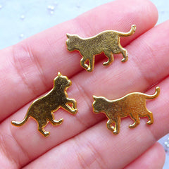 Cat Walking Charms | Kawaii Pet Charm | Small Metal Filling Materials for UV Resin Craft (3pcs / Gold / 20mm x 12mm)