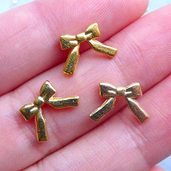 Mini Ribbon Charms for UV Resin Art | Small Filling Materials | Tiny Metal Embellishments | Kawaii Craft Supplies (3pcs / Gold / 12mm x 8mm)