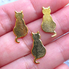 Cat Sitting Charms | Kawaii Kitty Embellishments | Cute Metal Filling Materials | Epoxy Resin Crafts | UV Resin Art (3pcs / Gold / 8mm x 18mm)