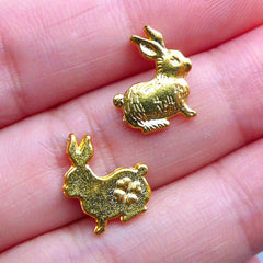 Easter Bunny Charms | Mini Rabbit Charm | Metal Embellishments | Kawaii Filling Materials | UV Resin Crafts | Epoxy Resin Art (3pcs / Gold / 10mm x 13mm)