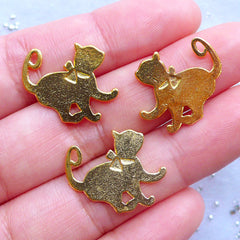 Lady Cat with Ribbon Charms | Kawaii Metal Embellishments | Filling Materials for Epoxy Resin | UV Resin Craft Supplies (3pcs / Gold / 18mm x 19mm)