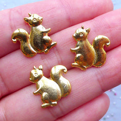 Small Squirrel Charms for UV Resin Art | Animal Embellishments | Metal Filling Materials | Kawaii Craft Supply (3pcs / Gold / 14mm x 16mm)