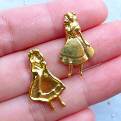 Alice in Wonderland Charms for UV Resin Art | Fairytale Embellishments | Fairy Tale Charm | Kawaii Metal Filling Material (3pcs / Gold / 14mm x 24mm)