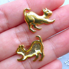 Small Cat Embellishments | Cat Stretching Charm | Pet Charms | Metal Filling Materials for UV Resin Art (3pcs / Gold / 17mm x 15mm)