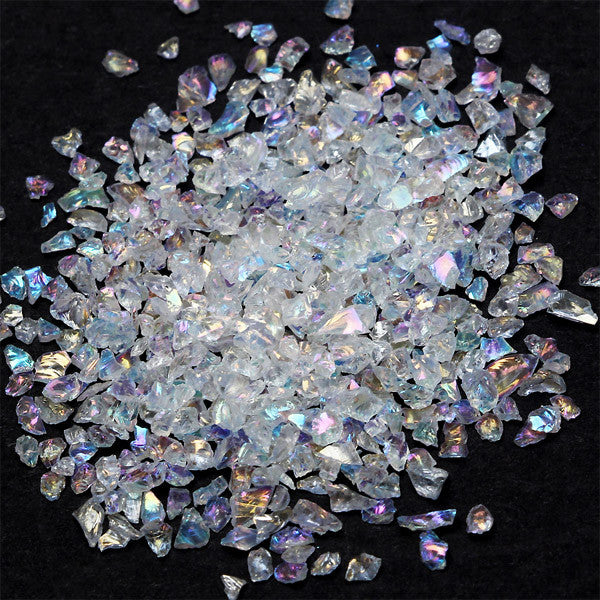Fake Crystal Flakes in AB Color | Iridescent Quartz Flakes in Irregular Shape | Faux Opal Flakes | Nail Art Supplies (AB White / 2g)