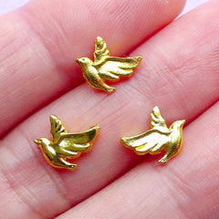Mini Peace Dove Charms | UV Resin Fillers | Tiny Bird Metal Embellishments | Kawaii Craft Supplies (3pcs / Gold / 7mm x 8mm / 2 Sided)