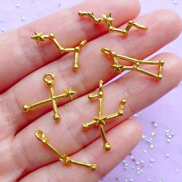 Star Constellation Charms for Kawaii UV Resin Crafts | Astrology Zodiac Charm | Cosmos Jewellery Making | Astronomy Charm (Set of 6 pcs / Gold)