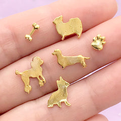 Dog Resin Inclusions | Pet Embellishments for Resin Crafts | Mini Animal Floating Charm | Metal Filling Material for Resin Shaker (6 pcs / Gold)