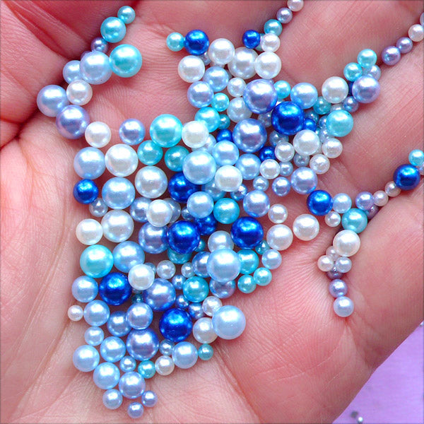 Assorted Round Pearls in Various Sizes | Fake Pearls | ABS Pearl with No Hole | Mermaid Party Decoration | Filling Material for Resin Crafts (Deep Blue Ocean / 2.5mm to 5mm / 150-200pcs)