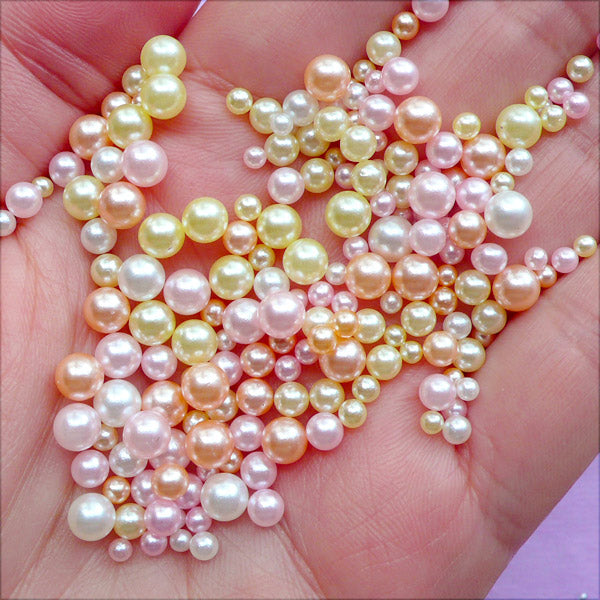 Kawaii Pearl Assortment in Various Sizes | Faux Pearls with No Hole | ABS Round Pearl | Mermaid Decoration | Filling Material for Resin Craft (Snowy Pink Winter / 2.5mm to 5mm / 150-200pcs)